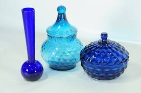 blue glass candy dishes small