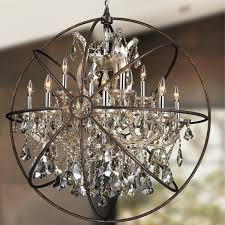 wrought iron crystal orb chandelier 1709 for elegant home crystal orb chandelier plan