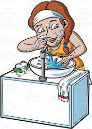 washing face clipart. Delighful Face A Woman Scrubbing Dirt Off Her Face On Washing Face Clipart