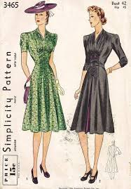 1940s Dress Patterns Best Vtg 48's Simplicity 48 Gather Inset Detail Dress Pattern B48