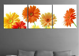 high quality modern wall art picture printed on canvas daisy oil painting 3pcs set on gerber daisy canvas wall art with high quality modern wall art picture printed on canvas daisy oil