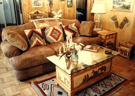 Western Couches Living Room Furniture Beige Shade Varnished Wood End Table Ceramics Floor Striped