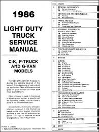 chevy k wiring diagram 1986 chevy truck repair shop manual original pickup blazer table of contents