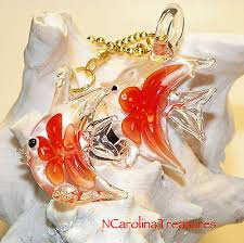 glass ceiling fan chain switch pull clear red fl ocean sea fish large pair