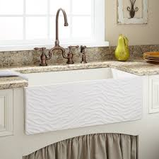 30 elam reversible fireclay farmhouse sink ripple front