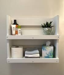 bathroom shelf white lightly distressed