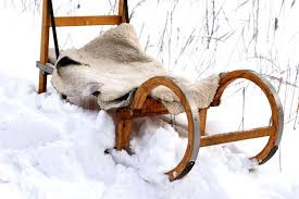 closeup of homemade old fashioned wooden sled standing in snowdrift stock photo snow wood sleds image vintage bros wooden snow sled manufacturers