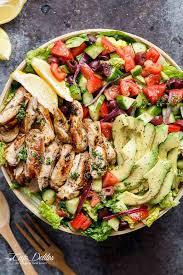 grilled chicken salad. Modren Chicken Grilled Lemon Herb Mediterranean Chicken Salad That Is Full Of  Flavours With A Dressing In