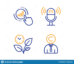 Get Chart Graph Chart Microphone And Leaves Icons Set Copyrighter