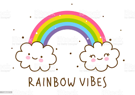 Couple Of Cute Cartoon Clouds With Rainbow Isolated On White Background  Stock Illustration - Download Image Now - iStock