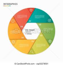 6 Piece Pie Chart Template Vector Circle Chart Infographic Template 6 Options Steps Part