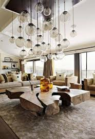pendant lighting for living room. Contemporary Rustic Design Style Living Room With Large Wooden Coffee Table And Multiple Glass Round Pendant Lights Lighting For