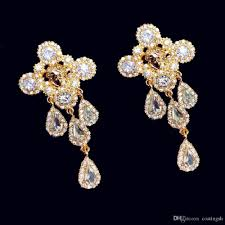 baroque jewelry crystal chandelier drop earrings blue with gold lion detail formal prom party exotic statement