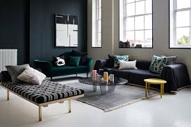 Dark Green Modern Living Room with painted window frames and modern sofas -  ideas for timeless