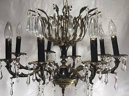 vintage french empire chandelier brass crystals black tole 8 arms antique light