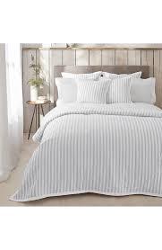logan blue white striped cotton quilt