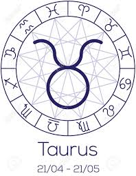 Zodiac Sign Taurus Astrological Symbol In Wheel With Polygonal
