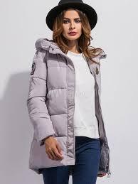 hooded winter coat women s long sleeve logos medium length quilted