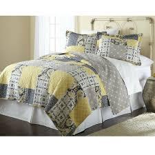 Full / Queen Cotton Patchwork Quilt Set Yellow Grey Navy ... & Full / Queen Cotton Patchwork Quilt Set Yellow Grey Navy Adamdwight.com