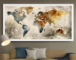 world map wall art large wall decor extra large wall art extra large art rustic home decor push pin world map poster l110  on large wall art picture frames with extra large art etsy