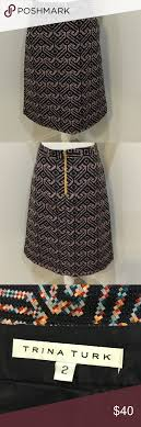 Aztec Design Skirt Trina Turke Pencil Skirt Sz 2 Pockets Aztec Design Lined