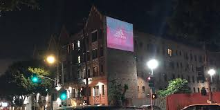 building wall projection advertising