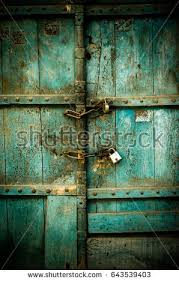 old door with lock and chain