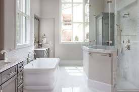 Wonderful Amazing Master Bath Features Waterworks Empire Freestanding Rectangular Tub,  Placed Below Window Flanked By His And Hers Washstands Painted Grey Topped  With ...