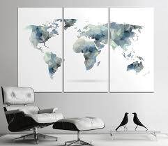 office world map. Large Geometric World Map Print Abstract Canvas Panels Set Wall Office