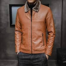 Faux Leather <b>Mens Faux Leather</b> Jacket Thicken Plus Cashmere ...
