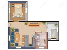 furniture design layout. Top View Of Floor Plan Interior Design Layout For House With Furniture And Fixture. Stock L