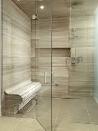 Example of a large trendy master beige tile and porcelain tile travertine  floor walk-in