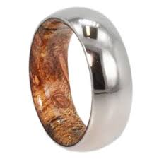 Mens Wedding Band Titanium Ring With Inner Exotic Wood Sleeve