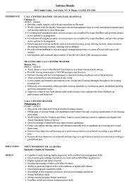 Call Center Resume Sample Call Center Trainer Resume Samples Velvet Jobs 82
