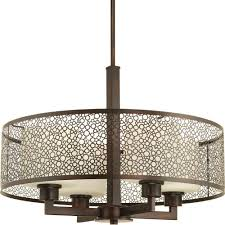 progress lighting mingle collection 3 light antique bronze pendant with natural parchment glass p5155 20 the home depot