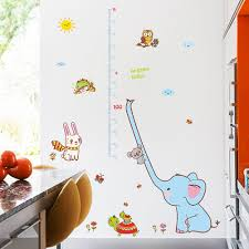 Us 4 35 30 Off Cartoon Measure Wall Stickers For Kids Rooms Animal Elephant Height Chart Ruler Decals Nursery Home Decor In Wall Stickers From Home
