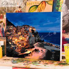 Tranh tô màu theo số CÓ KHUNG - Phong cảnh Cinque Terre TCK0063 - Oh deer!