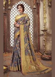 Traditional Designer Sarees Online Weaving Grey Traditional Designer Saree