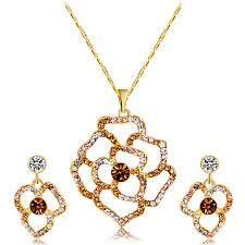 Women's Multicolor Crystal Pendant Necklace Earrings <b>Hollow Out</b> ...