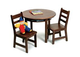 child s round table with shelf 2 chairs walnut finish