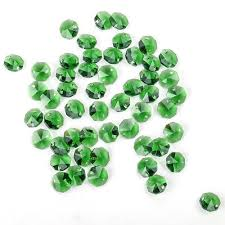50 green crystal 2 holes octagon beads chandelier prisms parts diy curtain 14mm