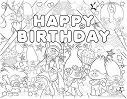 Trolls Happy Birthday Coloring Pages