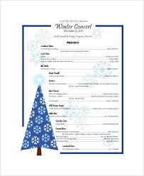 Christmas Program Sample Sample Concert Program 7 Documents In Word Within Templates Template