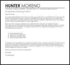Awesome Collection Of Mathematics Teacher Cover Letter Sample About