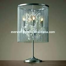 chandelier bedside table lamp night stand chrome round crystal chande