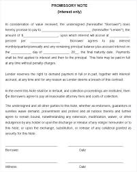 Promissory Note Template For Family Member Sample Promissory Note For Loans To Family And Friends Loan