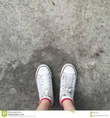 shoes for walking on concrete. Fine Walking White Sneakers Shoes Walking On Dirty Concrete Top View  Canvas  And Shoes For Walking On Concrete G