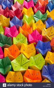 Multicolored Cootie Catchers Origami Fortune Teller With Numbers