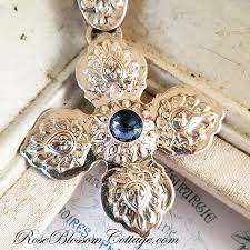 home gallery ornate large sterling silver cross rose cut cz aquamarine pendant necklace