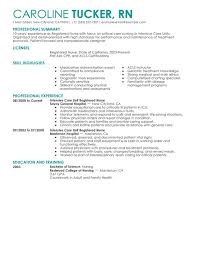 Registered Nursing Resume Unforgettable Intensive Care Unit Registered Nurse Resume